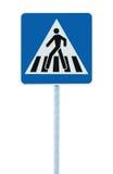 Zebramarkeringen för varningsgata för gångare arg trafik undertecknar in blått- och polstolpen som isoleras Arkivfoto
