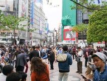 Zebrapad in Shibuya Tokyo Japan stock foto's
