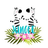 Zebras κινούμενων σχεδίων με τα τροπικά λουλούδια, τα φύλλα και τη γράφοντας ζούγκλα! Στοκ φωτογραφίες με δικαίωμα ελεύθερης χρήσης