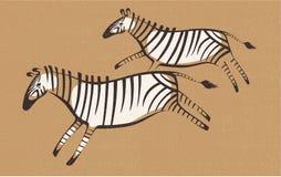 Zebras. Two zebras, prehistoric, wall list Royalty Free Stock Image