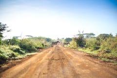 Zebras crossing an african dirt, red road through savanna. Kenya, East Africa Royalty Free Stock Photos