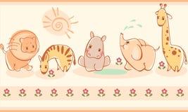 Zebras, giraffes, elephants, lions, hippos vector illustration