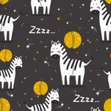Zebras, Mond und Sterne, nahtloses Muster lizenzfreie abbildung
