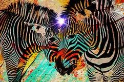 Zebras psicadélicos Imagens de Stock Royalty Free
