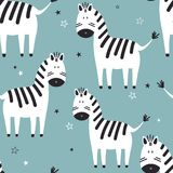Zebras, seamless pattern vector illustration