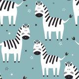 Zebras, teste padrão sem emenda ilustração do vetor