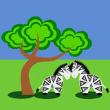 Zebras. Two zebras standing under the tree royalty free illustration