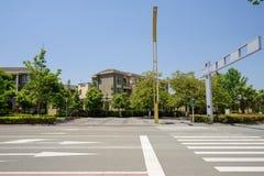 Zebrastreifen auf geasphaltierter Straße in der Stadt des sonnigen Sommers Lizenzfreie Stockfotos