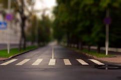 Zebrastreifen auf leerer Stadtstraßennahaufnahme Horizontale Ansicht Neigung SH Stockfotos