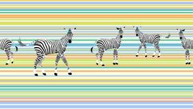 Zebre astratte del gregge di tiraggio nella savana variopinta Immagini Stock