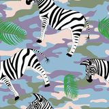 Zebry i palmy liście Fotografia Royalty Free