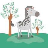 Zebry zwierzęca karykatura w lasu krajobrazu tle Fotografia Stock
