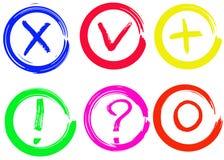 Zecke, Kreuz, Plus, Null, Fragezeichen und Ausruf vector Zeichen stock abbildung