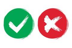 Zecken- und Kreuzbürstenzeichen OKAY und rote x-Ikonen des grünen Prüfzeichens, auf weißem Hintergrund Einfaches Kennzeichengrafi Stockfotografie