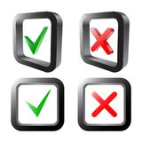 Zecken- und Kreuzzeichen Grünes Prüfzeichen OKAY und rote x-Ikonen, lokalisiert auf weißem Hintergrund Auch im corel abgehobenen  Lizenzfreie Stockbilder