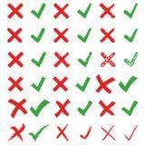 Zeckenvektor-Illustrationssatz des roten Kreuzes und des Grüns Markieren Sie X und V stock abbildung