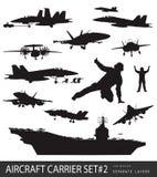 Zee luchtvaartsilhouetten stock illustratie