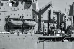 Zee Zwart-witte Schepen in detail Haven Royalty-vrije Stock Afbeelding