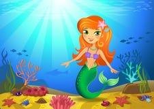 Zeebedding met meermin en koralen royalty-vrije illustratie