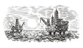 Zeede stijlillustratie van de booreilandgravure Overzeese olieboring Vector stock foto