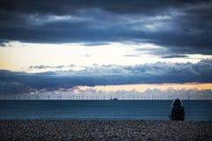 Zeediewindlandbouwbedrijf bij schemer van het strand wordt bekeken stock foto's