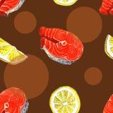 Zeeforelvissen met citroen, waterverf het schilderen illustratie op een achtergrond van de Witboekkunst Stock Foto