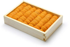 Zeeëgelkuiten, Japanse sushi en sashimiingrediënten Stock Afbeeldingen