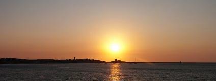 Zeegezicht bij zonsondergang Stock Afbeelding