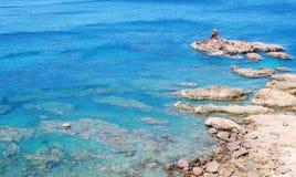 Zeegezicht Blauw Paradijs in Vietnam stock afbeeldingen