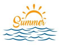 """Zeegezicht, blauwe overzees en zon, de zomer teken†""""vector stock illustratie"""