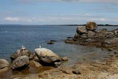 Zeegezicht dichtbij Pointe DE Trevignon royalty-vrije stock afbeeldingen