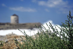 Zeegezicht in Dodekanese Griekenland. Stock Foto