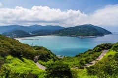 Zeegezicht en kustlijn in Jusambutsu-park, Amakusa, Kumamoto royalty-vrije stock afbeelding