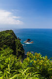 Zeegezicht en kustlijn in Jusambutsu-park, Amakusa, Kumamoto stock afbeelding