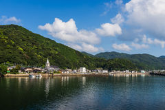 Zeegezicht en kustlijn in Jusambutsu-park, Amakusa, Kumamoto royalty-vrije stock afbeeldingen