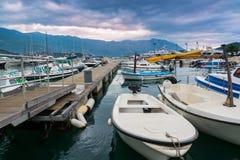 Zeegezicht en onweerswolken in Montenegro, Europa Stock Afbeeldingen