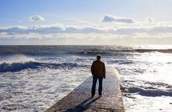 Zeegezicht Marien landschap met het cijfer van een mens Golf op de overzeese golfbreker stock foto's