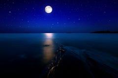 Zeegezicht met maan Royalty-vrije Stock Foto