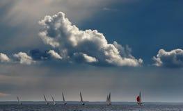 Zeegezicht met regatta Stock Foto's