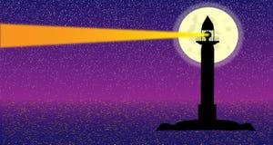Zeegezicht met vuurtoren bij nacht vector illustratie