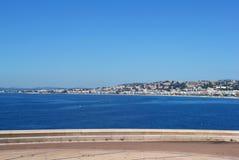 Zeegezicht in Nice, Frankrijk Stock Foto