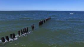 Zeegezicht, Oostzee die, Vogels op de Golfbreker zitten stock video