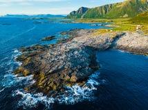 Zeegezicht op Andoya-eiland Noorwegen royalty-vrije stock foto's