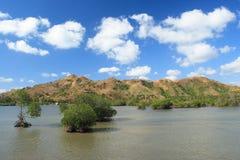 Zeegezicht op eiland Lombok. Stock Foto's