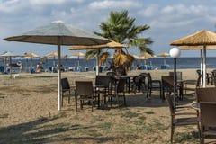 Zeegezicht van Gerakini-Strand bij Sithonia-schiereiland, Chalkidiki, Centraal MAC royalty-vrije stock afbeeldingen
