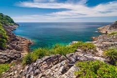 Zeegezicht vanuit gezichtspunt bij Tachai-eiland Royalty-vrije Stock Foto's