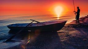 Zeegezicht visserij stock afbeeldingen