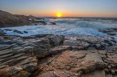 Zeegezichtzonsondergang Kreta, Griekenland Royalty-vrije Stock Afbeeldingen