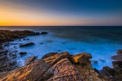 Zeegezichtzonsondergang Kreta, Griekenland Royalty-vrije Stock Foto