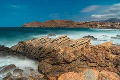 Zeegezichtzonsondergang Kreta, Griekenland Stock Afbeeldingen